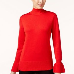 CABLE & GAGE RUFFLE BELL SLEEVE TURTLE NECK TOP